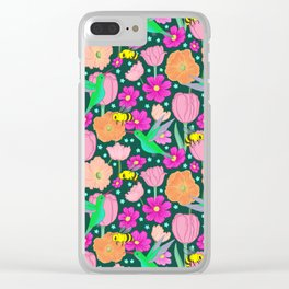Hummingbirds and Bees Spring Pollinator Floral Clear iPhone Case