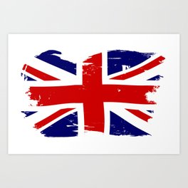 Union Jack British Flag With Grunge Art Print