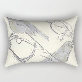 Bird Sketch Finch Graphic Rectangular Pillow