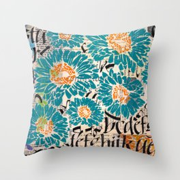 Turquoise letters Throw Pillow