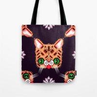lil bub Tote Bags featuring Lil Bub Geometric Pattern by chobopop