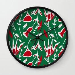 winter floral green Wall Clock
