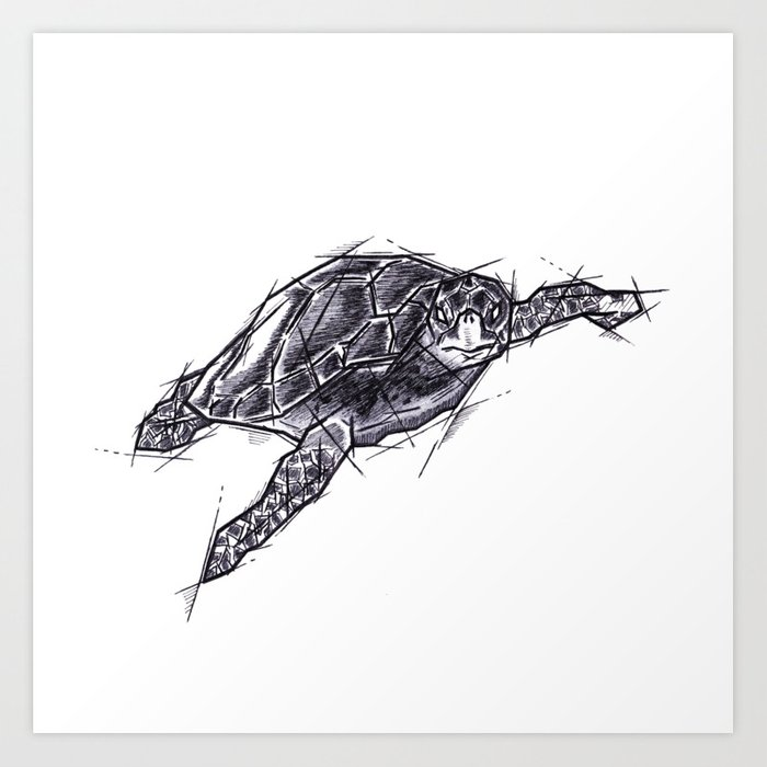 Sea Turtle Handmade Drawing Art Sketch Tartaruga Marina Illustration Art Print By Lucagenart Society6