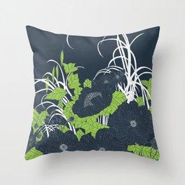 Midnight Flowers Throw Pillow