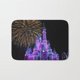 Disney Magic Kingdom Fireworks at Christmas - Cinderella Castle Bath Mat