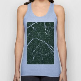 Paris France Minimal Street Map - Forest Green Unisex Tank Top
