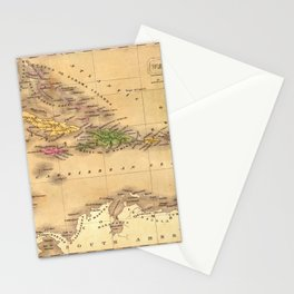 Map Of The Caribbean 1828 Stationery Cards