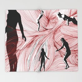 Red Hand Throw Blanket