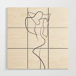 Lovers - Minimal Line Drawing 1 Wood Wall Art