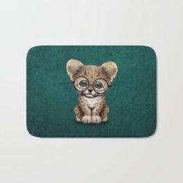 Cute Cheetah Cub Wearing Glasses on Teal Blue Bath Mat