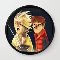 back to the future Wall Clocks featuring Back to the future by Peerro