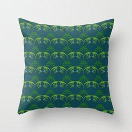 Green Wheat Floral Throw Pillow
