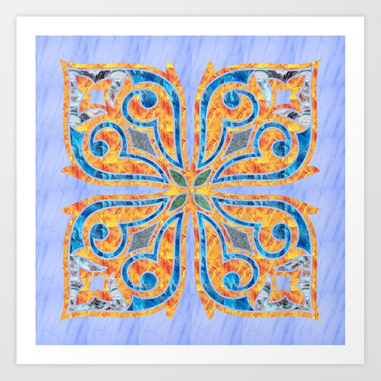 Blue Oriental Tile 02 Art Print