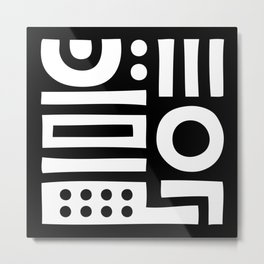 Mid Century Modern Abstract Composition 114 Black and White Metal Print