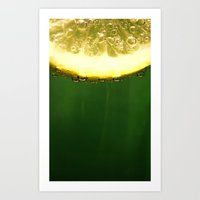 lemon Art Prints featuring lemon by techjulie
