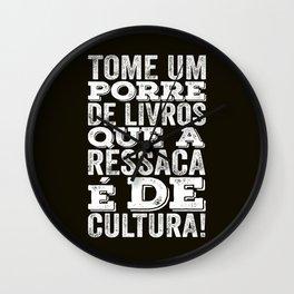 Book culture phrase wrote in Brazilian Portuguese. Arte para brasileiros. Wall Clock