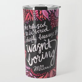 Zelda Fitzgerald – Pink on Charcoal Travel Mug