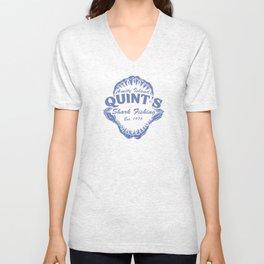 Quint's Shark Fishing Amity Island T-Shirt Tee Jaws Funny 70's Movie T Orca navy Unisex V-Neck