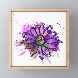 GC031-7 Colorful watercolor doodle flower green and purple Framed Mini Art Print
