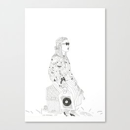 girl with record plastic bag Canvas Print