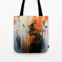 glitch Tote Bags featuring glitch by HAW Design Studio