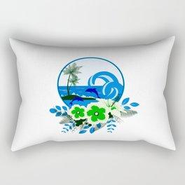 Blue & Green Design of Tropical Island, Flowers, Ocean and Fish Rectangular Pillow