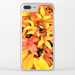 Pink and Yellow Leaves Clear iPhone Case