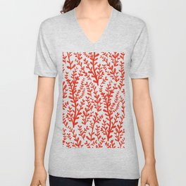 Red and White Floral Gouache Pattern Unisex V-Neck