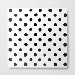 Modern Handpainted Abstract Polka Dot Pattern Metal Print