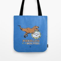 trex Tote Bags featuring problem solved... trex with arms.. by studiomarshallarts