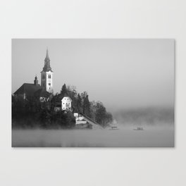 Misty Lake Bled in Black and White Canvas Print