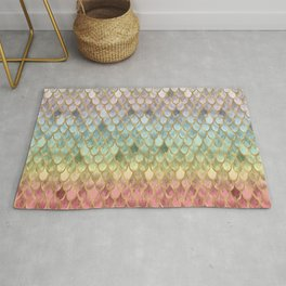 Rainbow Marble Mermaid Scales Rug