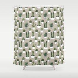 Watercolour cacti & succulents - Beige Shower Curtain