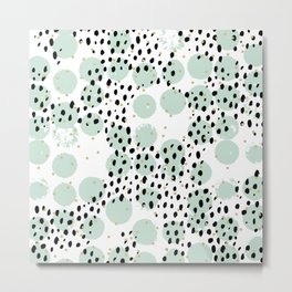 Dots and dashes pop rain colorful abstract design mint Metal Print