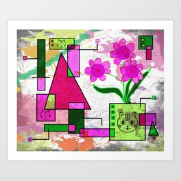 Floralia and More Pussycats Art Print