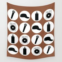 hip hop Wall Tapestries featuring 4 Elements Of Hip-Hop by ARTiSTiC TENDENCiES