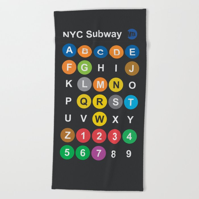Nyc Subway Map Dark.New York City Subway Alphabet Map Nyc Lettering Illustration Dark Version Usa Typography Beach Towel By Stefanoreves