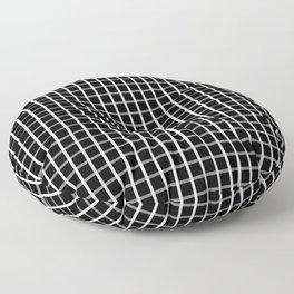 Small White on Black Grid Pattern | Floor Pillow