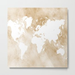 Design 82 world map sepia Metal Print