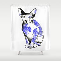 kitty Shower Curtains featuring Kitty by Judski