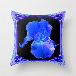 Blue-Lavender Iris Art Nouveau Pattern Art Throw Pillow