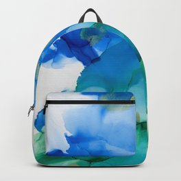Alcohol Ink Blues and Green Abstract Art Backpack
