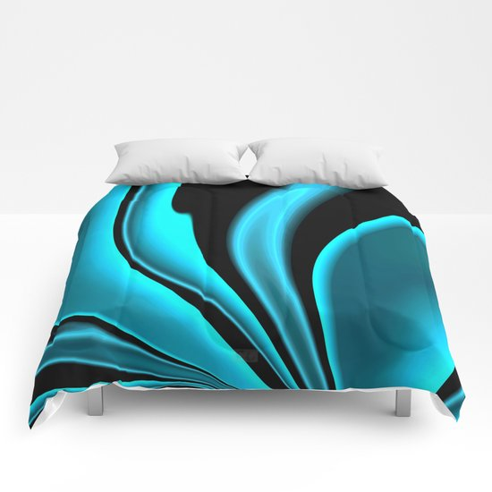 Abstract Fractal Colorways 02 Pacific Blue Comforters