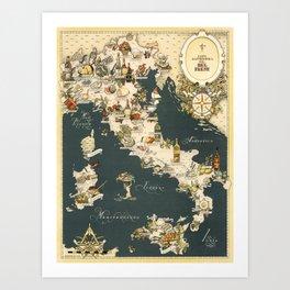 Gastronomic Map of Italy 1949 Art Print
