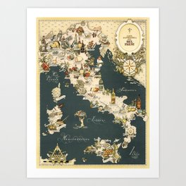 Gastronomic Map of Italy 1949 Art Print