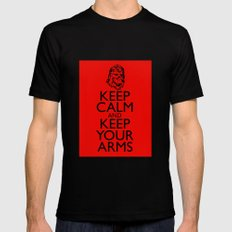 Keep Calm and Keep your Arms MEDIUM Black Mens Fitted Tee