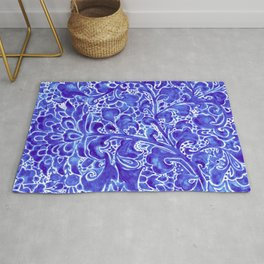 Watercolor Chinoiserie Block Floral Print in Blue Porcelain Tiles Rug