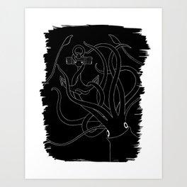 Giant Squid & Anchor Art Print