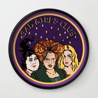 hocus pocus Wall Clocks featuring HOCUS POCUS SAD GIRLS CLUB by Cat Core