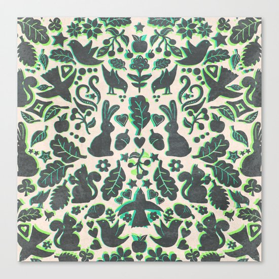 Two Rabbits - folk art pattern in grey, lime green & mint Canvas Print